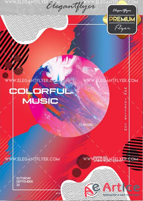 Colorful Music V14 Flyer PSD Template + Facebook Cover