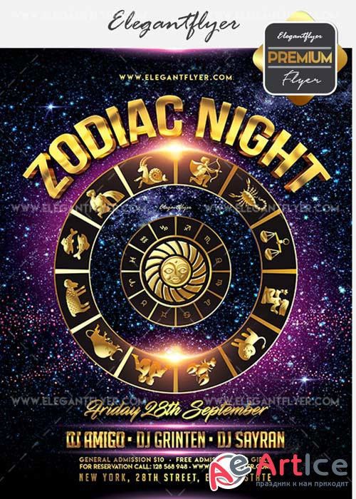 Zodiac Night V5 Flyer PSD Template + Facebook Cover