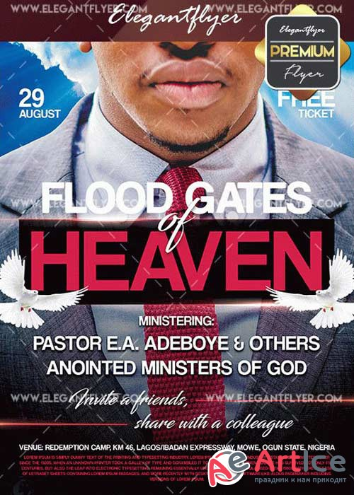 Flood Gates Of Heaven V1 Flyer PSD Template + Facebook Cover