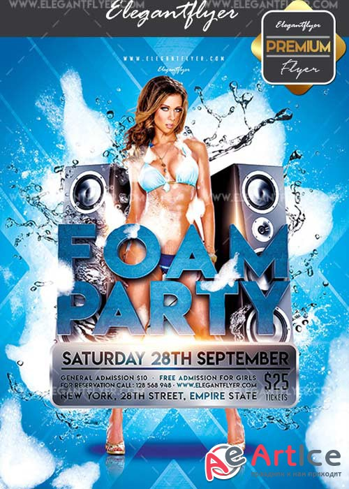 Foam Party V02 Flyer PSD Template + Facebook Cover