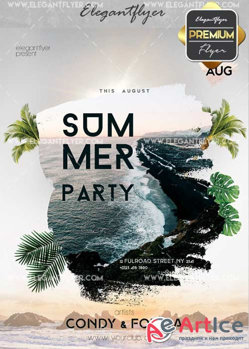 Summer Party Flyer PSD V42 Template + Facebook Cover