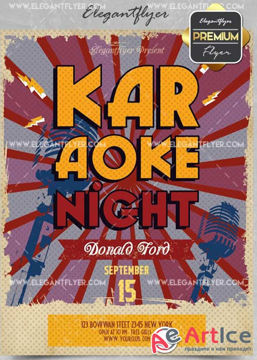 Karaoke Night V42 Flyer PSD Template + Facebook Cover