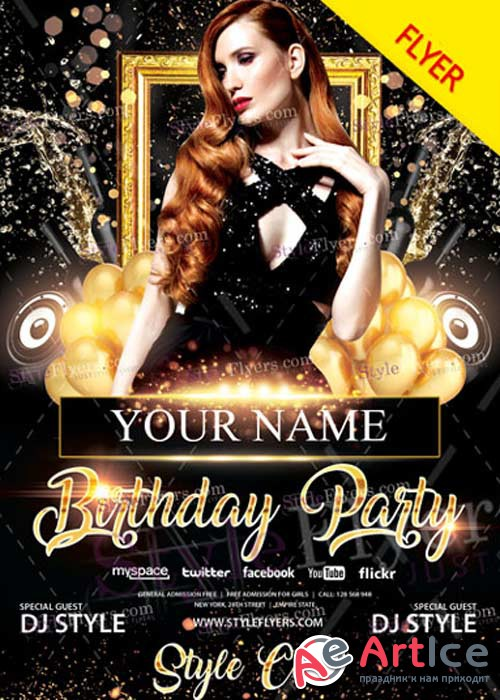 Birthday Party V37 Flyer PSD Template