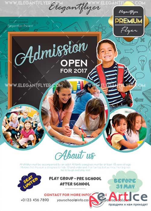 School V30 Flyer PSD Template + Facebook Cover