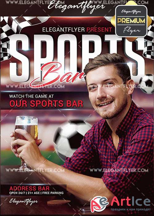 Sports Bar V2 Flyer PSD Template + Facebook Cover