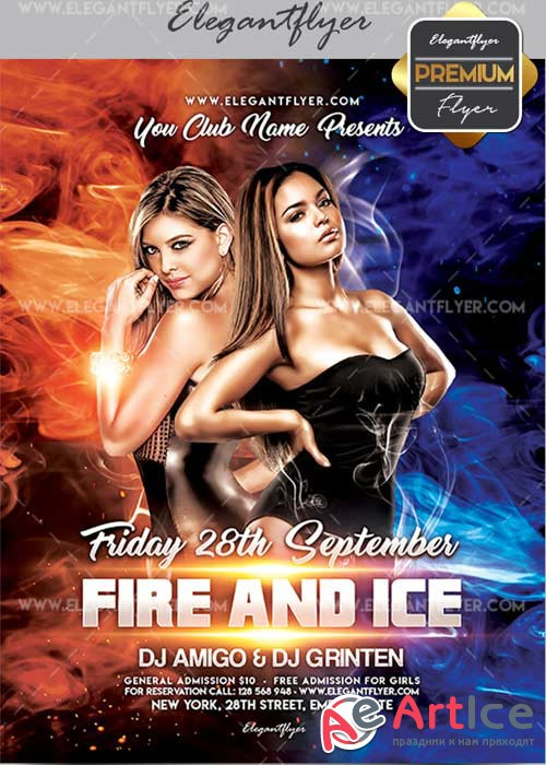 Fire and Ice Party V3 Flyer PSD Template + Facebook Cover