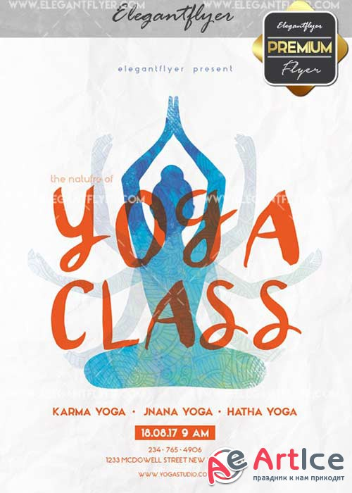 Yoga Class V16 Flyer PSD Template + Facebook Cover