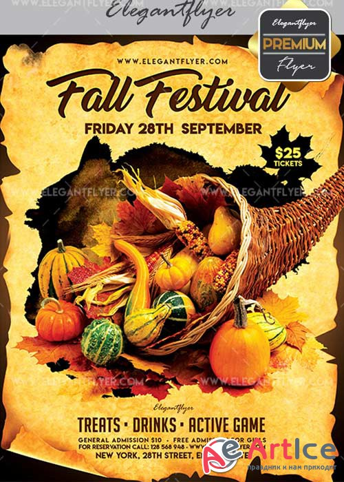 Fall Festival V02 Flyer PSD Template + Facebook Cover
