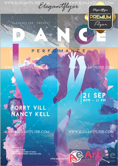 Dance V19 Flyer PSD Template + Facebook Cover