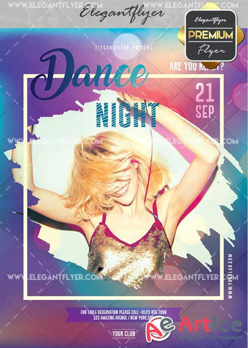 Dance Night V14 Flyer PSD Template + Facebook Cover