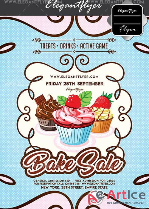 Bake Sale V4 Flyer PSD Template + Facebook Cover