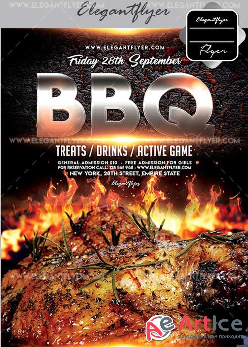 BBQ V32 Flyer PSD Template + Facebook Cover