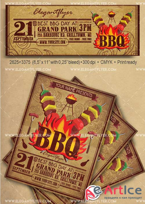 BBQ Flyer Template V25 Flyer PSD Template + Facebook Cover