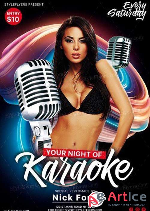 Karaoke Night V29 PSD Flyer Template