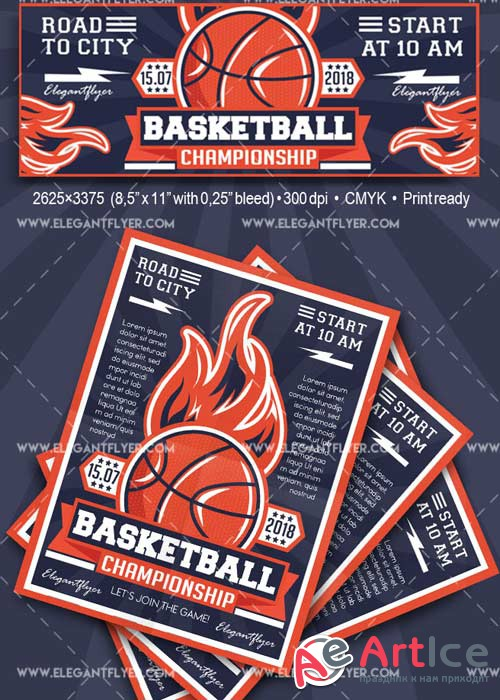 Basketball Flyer templates V19 Flyer PSD Template + Facebook Cover