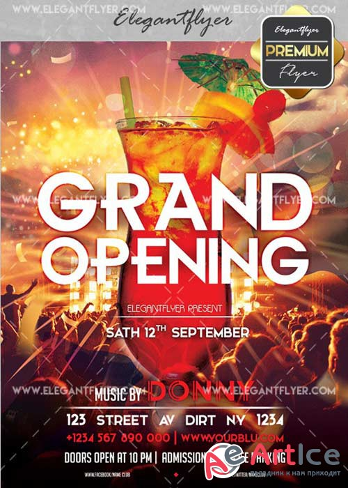 Grand Opening V42 Flyer PSD Template + Facebook Cover