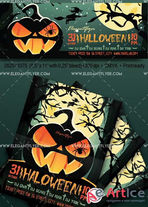 Halloween V40 Flyer PSD Template + Facebook Cover