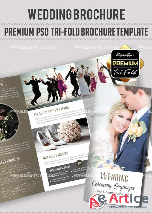 Wedding V34 Premium Tri-Fold PSD Brochure Template