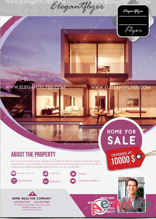 Home for Sale V1 Flyer PSD Template + Facebook Cover