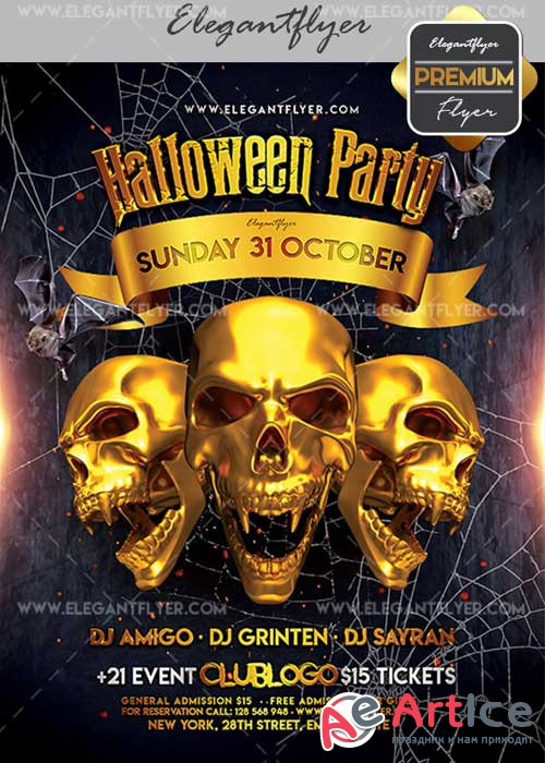 Halloween Party V02 Flyer PSD Template + Facebook Cover