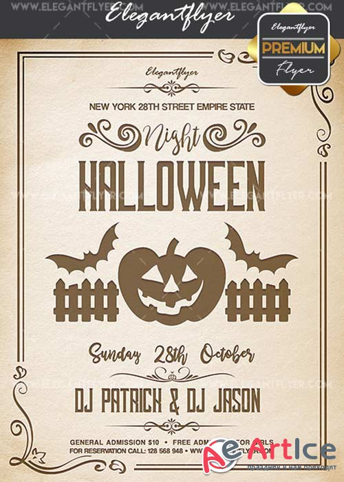 Halloween Night V02 Flyer PSD Template + Facebook Cover