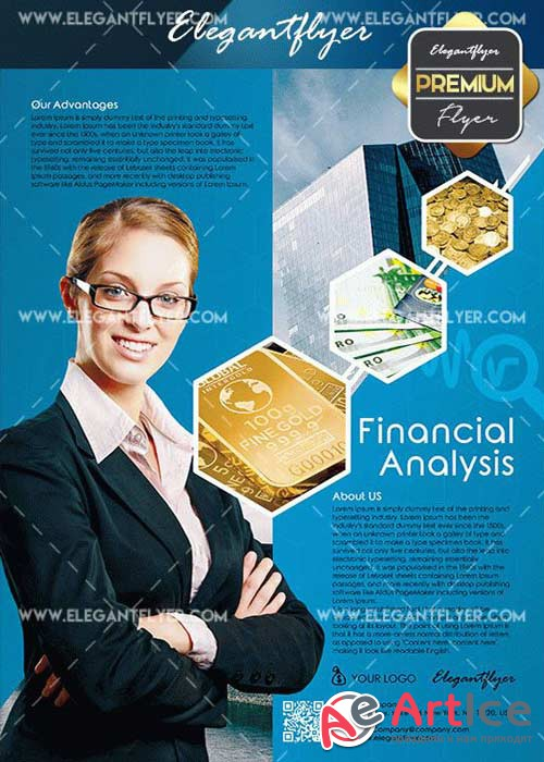 Financial Analysis V3 Flyer PSD Template + Facebook Cover