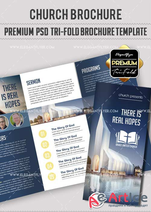 Church V8 Premium Tri-Fold PSD Brochure Template