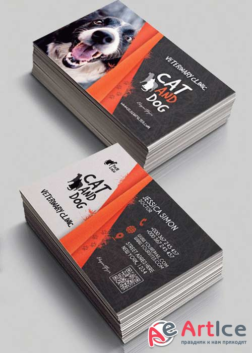 Veterinary Clinic V3 Premium Business Card Templates PSD