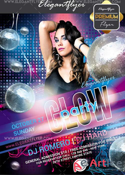 Glow party 2017 V11 Flyer PSD Template + Facebook Cover