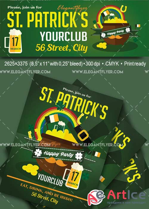St. Patrick`s day 2017 V01 Flyer PSD Template + Facebook Cover