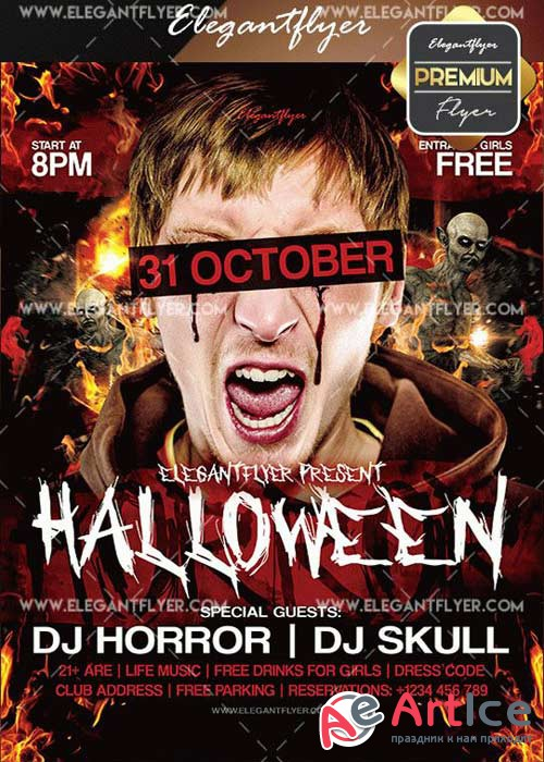 Halloween Horror V5 Flyer PSD Template + Facebook Cover