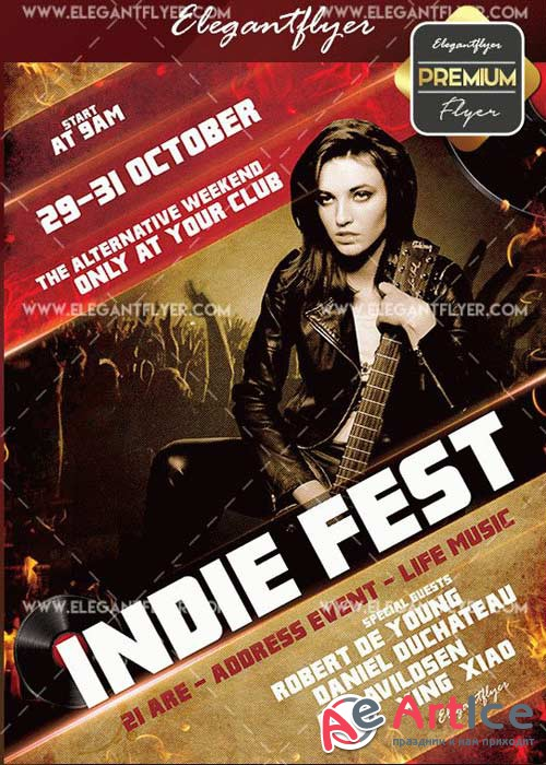Indie Fest V18 Flyer PSD Template + Facebook Cover