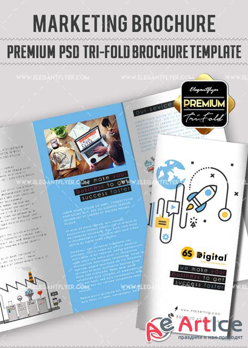 Marketing V9 Premium Tri-Fold PSD Brochure Template
