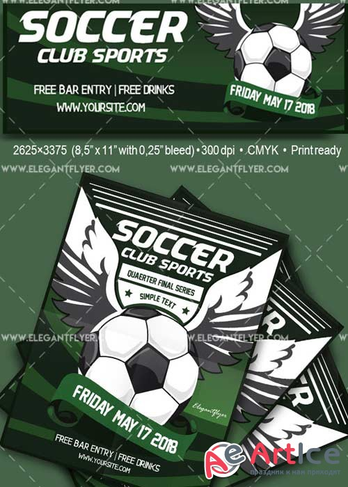 Soccer V29 Flyer PSD Template + Facebook Cover