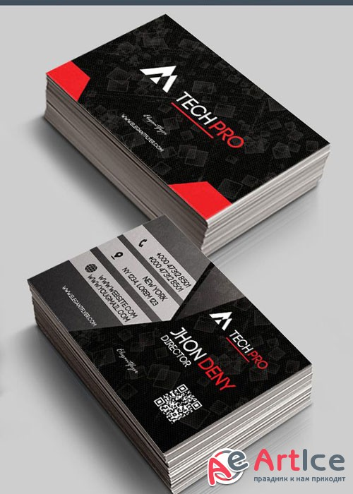 Tech Pro V1 Premium Business Card Templates PSD