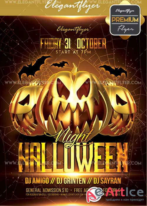 Halloween Night V04 2017 Flyer PSD Template + Facebook Cover