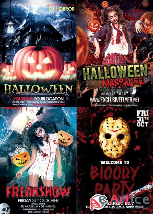 Halloween Night 4in1 V1 Flyer Template