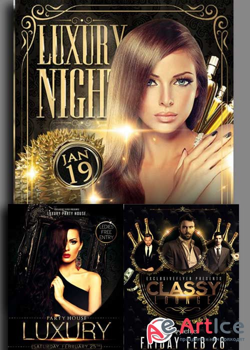 Vip Lounge Flyers 3in1 Flyer Template V6