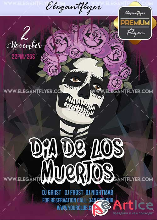 Dia De Los Muertos Party V19 2017 Flyer PSD Template + Facebook Cover
