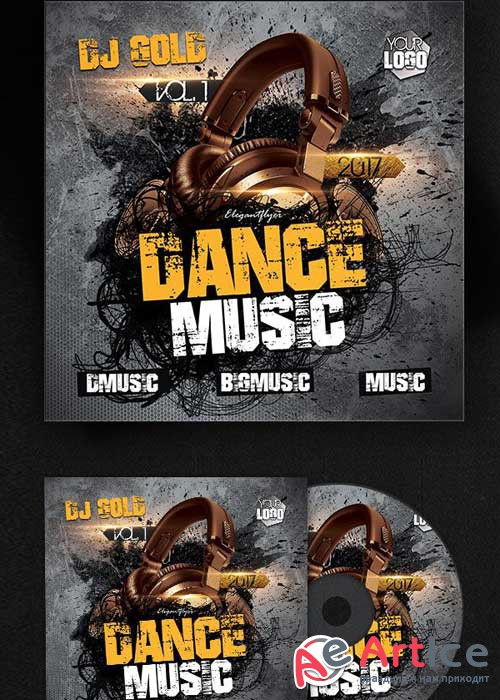 Dance Music V5 Premium CD Cover PSD Template