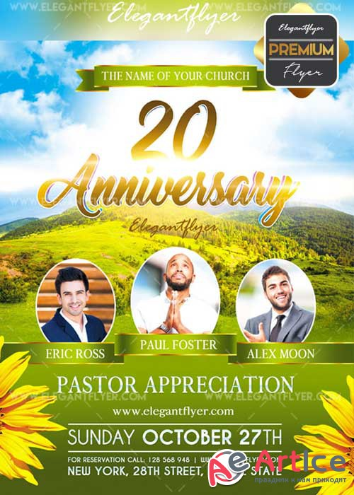 Pastor Appreciation V23 Flyer PSD Template + Facebook Cover