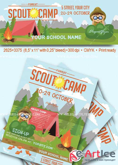 Scout Camp V9 Flyer PSD Template + Facebook Cover