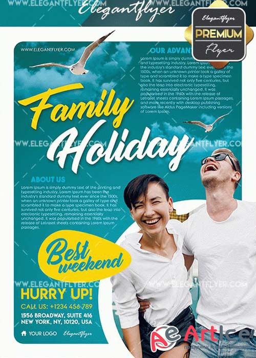 Family Holiday V5 Flyer PSD Template + Facebook Cover
