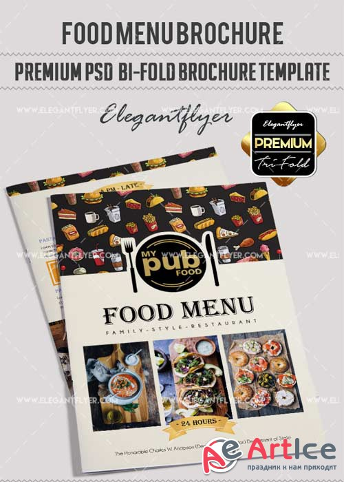 Food Menu V18 Premium Bi-Fold PSD Brochure Template
