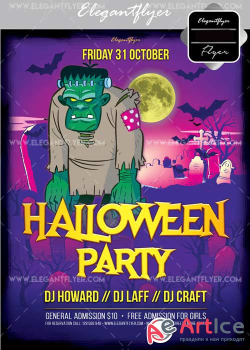 Halloween Party V24 2017 Flyer PSD Template + Facebook Cover