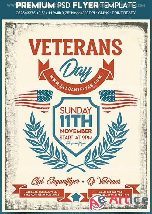 Veterans Day V3 2017 Flyer PSD Template + Facebook Cover