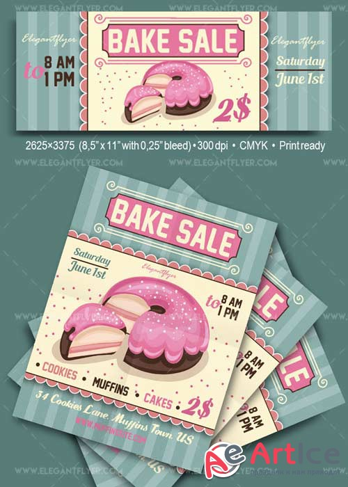 Bake Sale Flyer PSD V11 Template + Facebook Cover