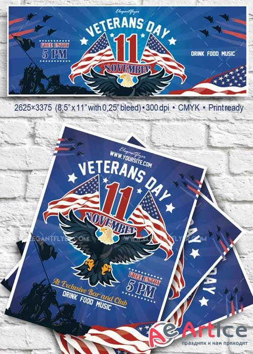 Veterans Day V4 2017 Flyer PSD Template + Facebook Cover