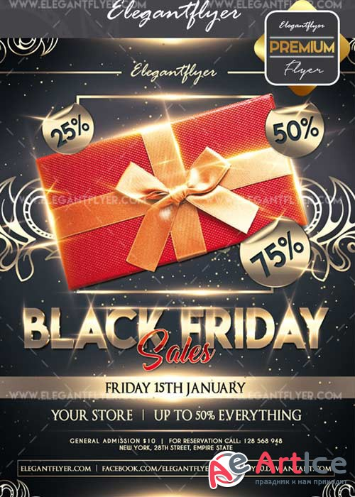 Black friday sales V19 Flyer PSD Template + Facebook Cover