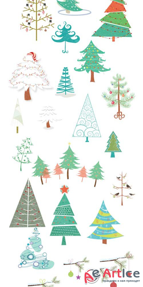 Xmas Super Premium Winter Elements - Christmas vector trees V1